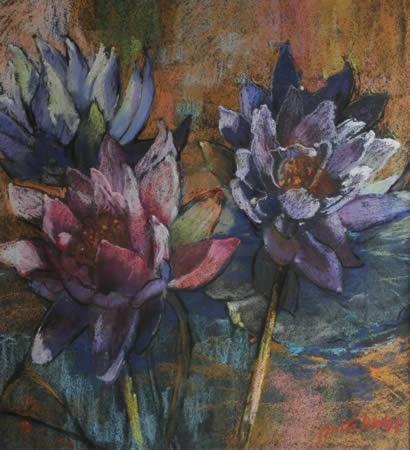 Artists in Pastel.  Lotus Blooming by Anita Wolff