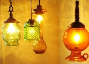Pendant lamps from vintage vases