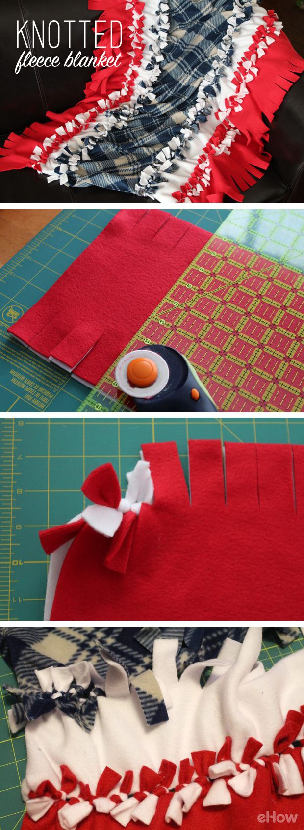 No-sew knot fleece blanket that make great gifts! Any level crafter can make this easily. DIY tutorial with images here: http://www.ehow.com/how_4662261_knot-fleece-blankets.html?utm_source=pinterest.com&utm_medium=referral&utm_content=inline&utm_campaign=fanpage