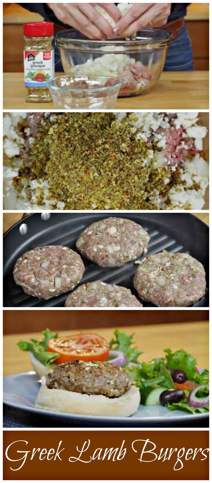 Greek Lamb Burgers. Just 4 ingredients yet so flavorful. This recipe is an absolute winner.
