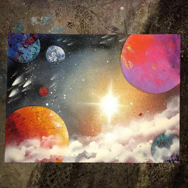 12x36 Solar System Painting On Canvas More Creationsbyvince Https Creationsbyvince Com Planet Painting Solar System Painting Space Painting Acrylic