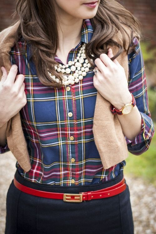 This colorful/poppy plaid would look fabulous with black pants and dark brown loafers or oxfords. Eye-catching on its own, I'd ditch the jewelry for a less complicated neckline and keep it simple.