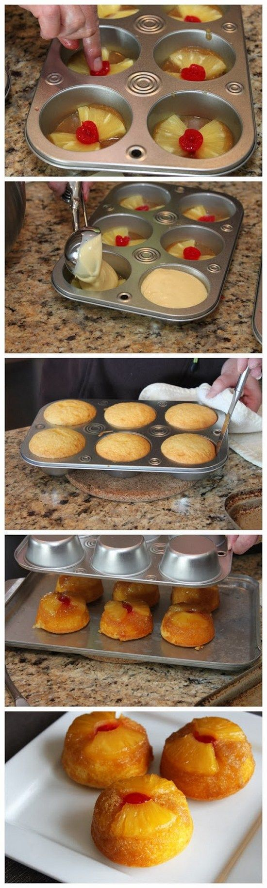 Pineapple Upside-Down Cupcakes. These cupcakes are made with pineapple cake mix, crushed pineapple, and brown sugar. They are light like cloud. Delicious!