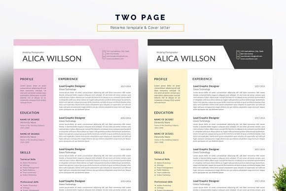 Colored Resume Template Word Resum By Linzo91 On Creativemarket Resume Template Word Resume Words Skills Best Resume Template