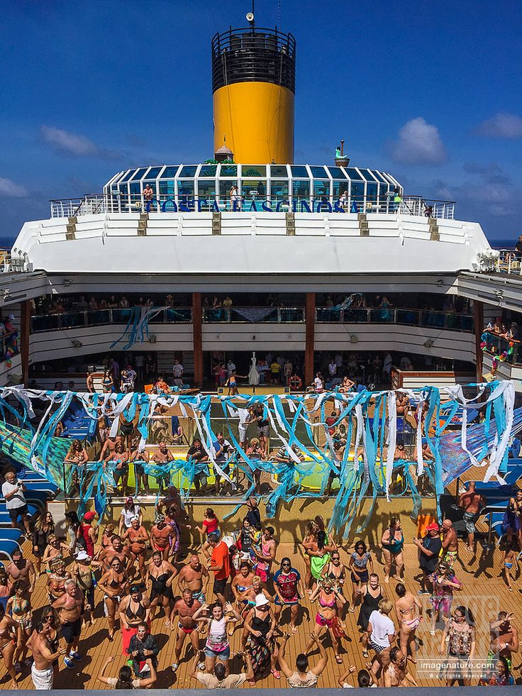Open deck party on cruise ship crossing Equator line