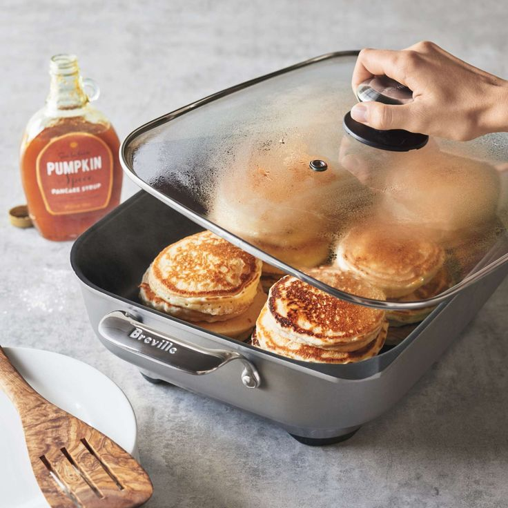 Breville Electric Skillet...This large banquet skillet's optimized heat distribution gives you plenty of space to prepare everything from bacon and eggs to complete dinners.