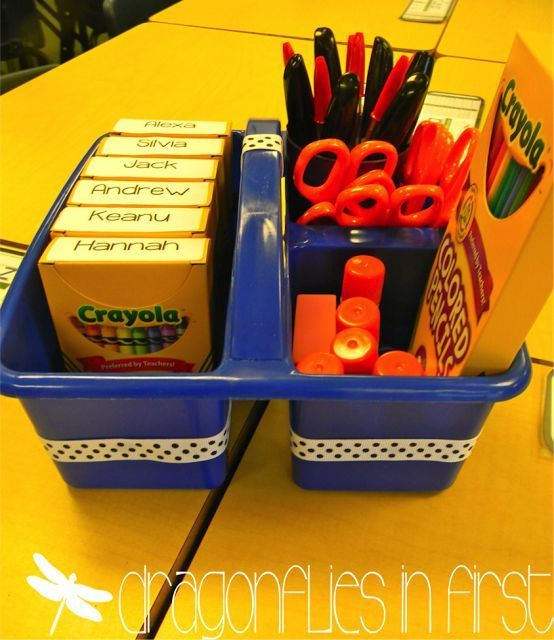 Classroom Organization Tips (students name on the top of the crayon box rather than on the front)