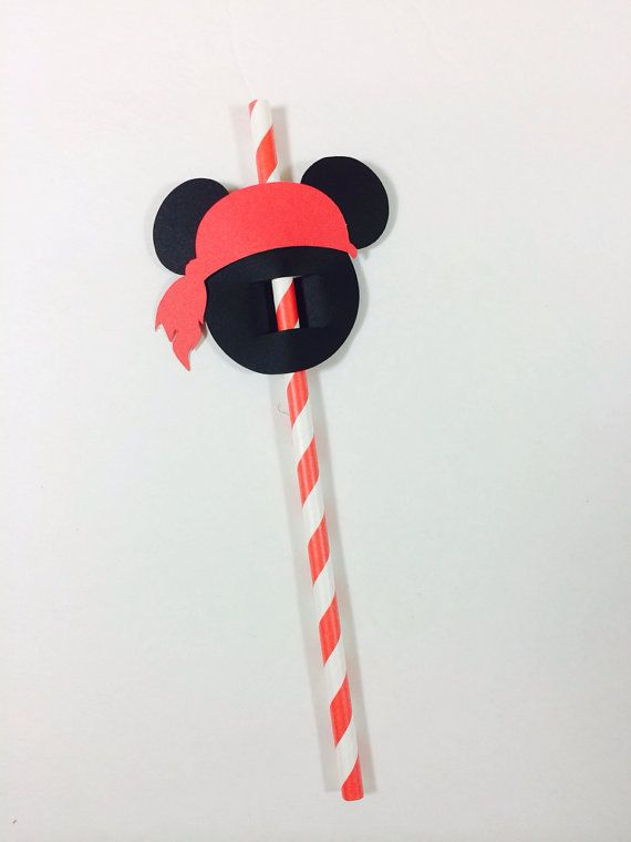 Pirate Mickey Mouse Straw Flags - Set of 12