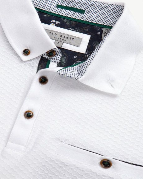 Geo textured polo shirt - White | Tops & T-shirts | Ted Baker UK