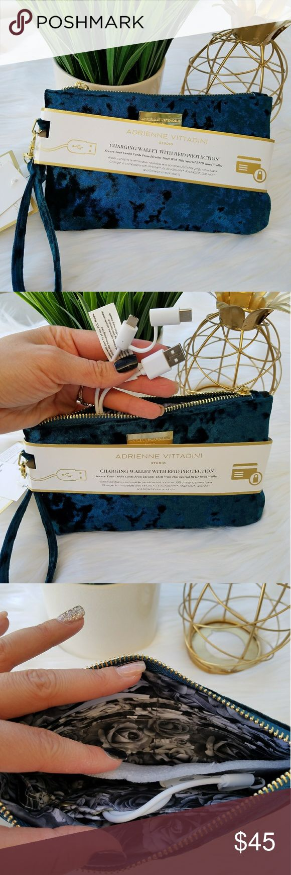 New!! Adrienne Vittadini Charging Wristlet Hot item! Adrienne Vittadini, Teal-Velvet charging wallet, charges your phone while keeping your credit cards safe/secure from identity theft. RFID-lined protection inside the bag. Removable chargers that are compatible w/Iphone, Blackberry, Android & Galaxy smartphone devices!  Convenient size wristlet for a minimalist who doesnt want to carry a purse to the beach, vacation, evening out. Or carry in your purse & never worry about a charge!  Great…