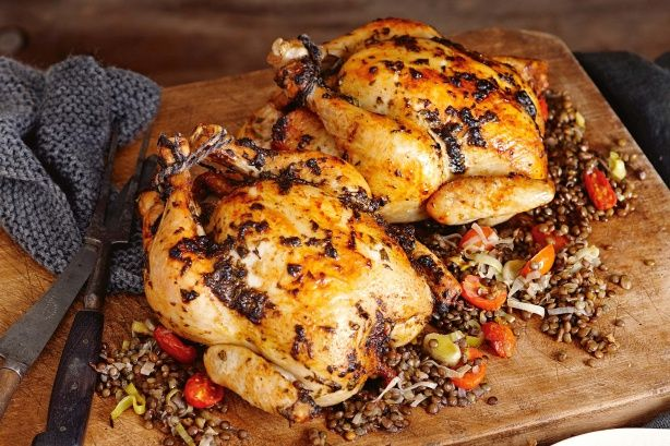 Chermoula is a Moroccan herb and spice paste that is used as a rub for this chicken.