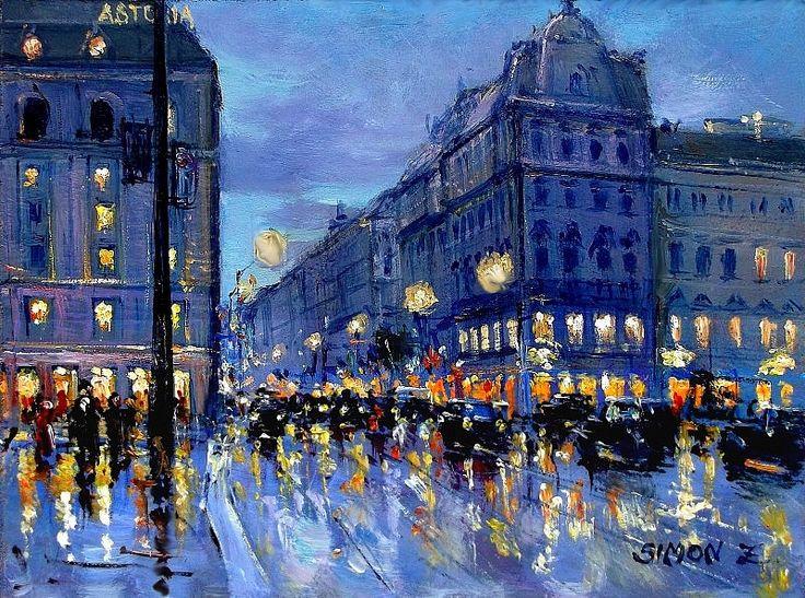 Simon Zoltán - Astoria éjjel.  Olaj, 25x30 cm.