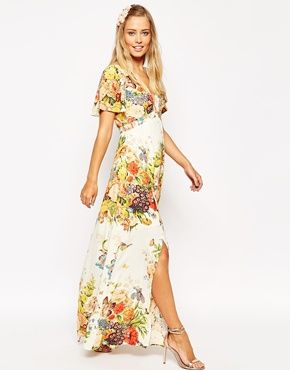 ASOS - Vestito lungo da giorno a fiori
