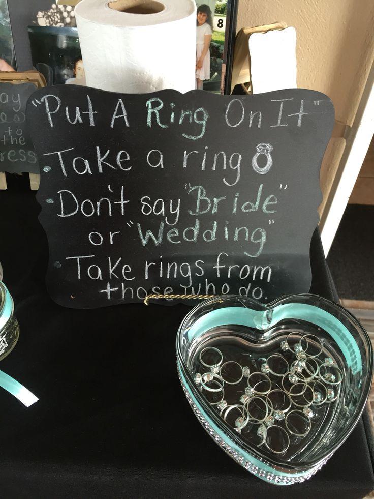 Breakfast at Tiffany's Bridal Shower game - don't say bride - diamond ring