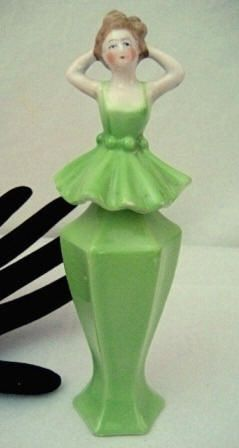 Art Deco shaped figural lady perfume bottle, made in Bavaria during the 1920s-1930s