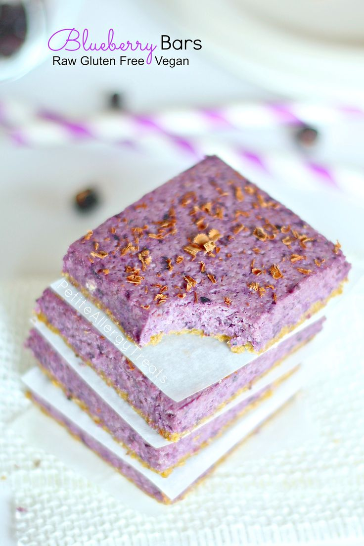 Naturally gluten free blueberry bars using real blueberries. This vegan treat is also raw and no bake.