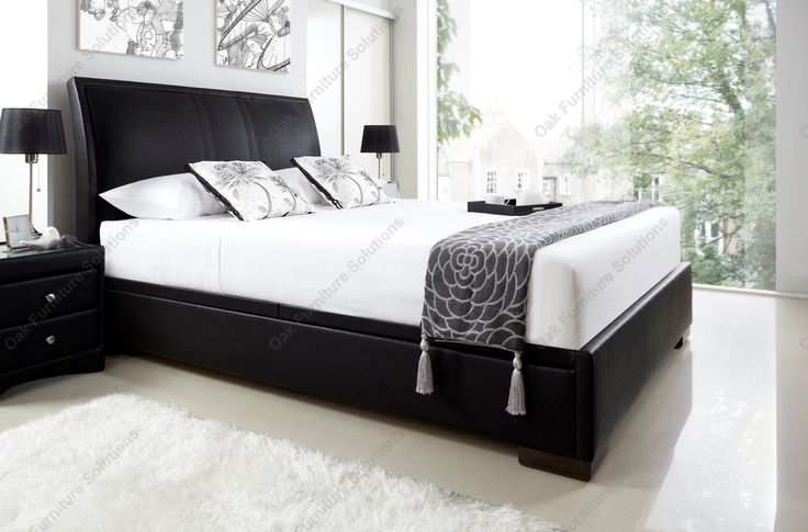 Kaydian Haydon Black Leather Ottoman Storage Bed - Double or King Size