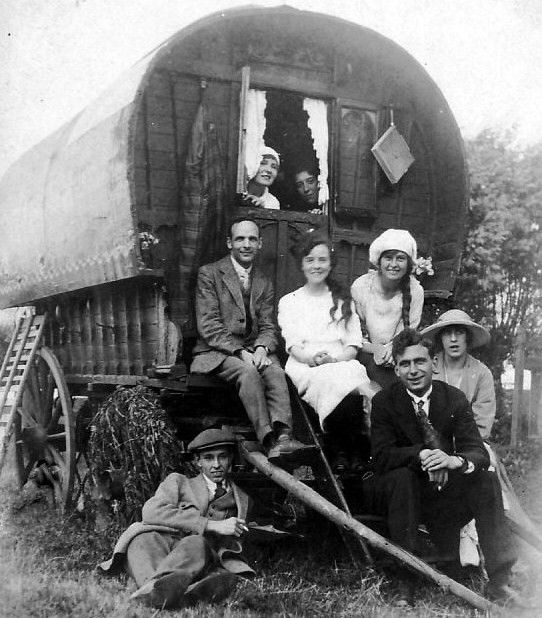 Old photograph of travelling people wedding group in Highland Perthshire, Scotland