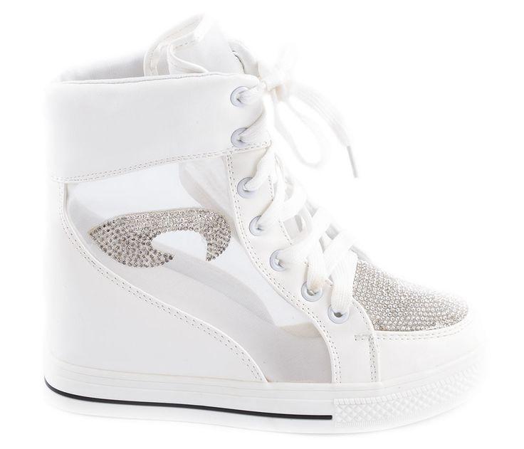 Sneakers albi de dama cu siret 028-6A - Reducere 67% - 19.99 Lei - Zibra