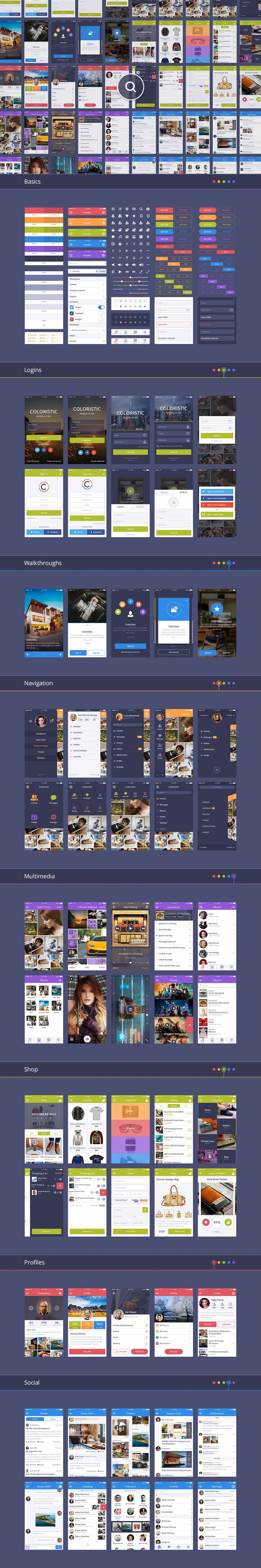 Coloristic: iOS / Android UI Kit by UI Chest on Creative Market