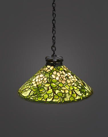 Tiffany Studios (1899-1918) Dogwood hanging shade, circa 1905