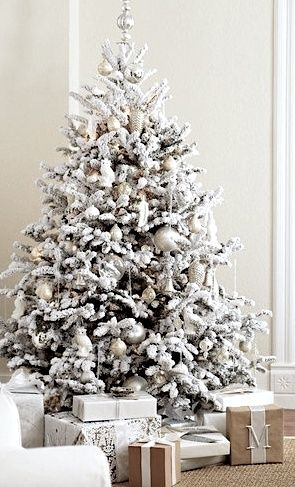 A white #Christmas tree is fresh and contemporary to match a modern decor. #HolidayInspo: