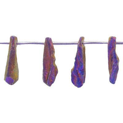 Semi-precious beads, top drilled point, purple gold quartz, coated, 16 inch strand