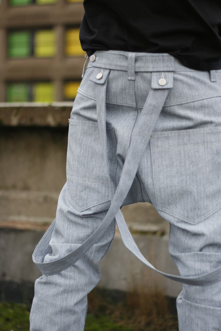 Close up of the braces for the designer drop crotch jeans - see the detail http://www.comafashion.com/#!product/prd1/1030605364/dungarees-braces-grey-denim-jeans-mens-drop-crotch
