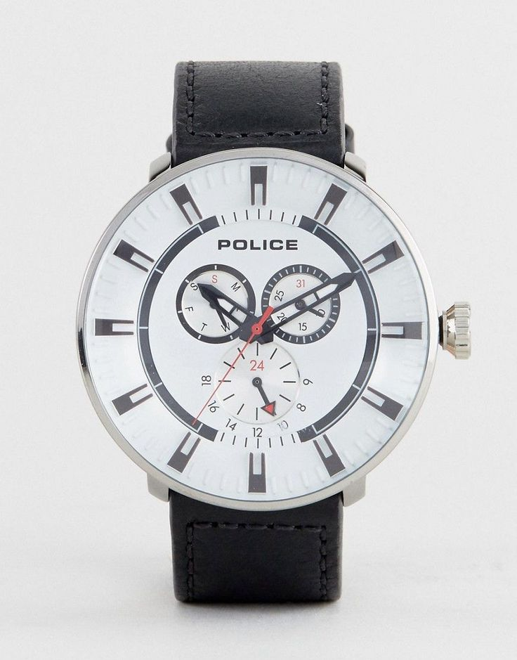 Get this POLICE's watch now! Click for more details. Worldwide shipping. Police Mens League Watch In Black - Black: Watch by Police, Real leather strap, Stainless steel case, Three hand movement, Sub-dial, chronograph design, Dash indices, Single crown to side, Pin-buckle fastening, 3ATM: water resistant to 30 metres (100 feet). (reloj, watches, mini clock, chronograph, chronometer, pulsometer, clock, watch, leather strap, reloj, minirreloj, cronógrafo, cronografos, cronógrafos…