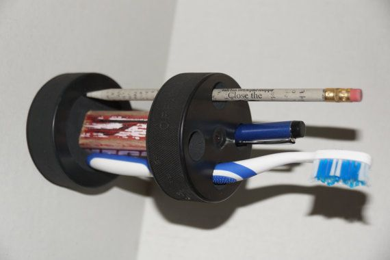 Hockey Puck and stick PenPencil toothbrush holder