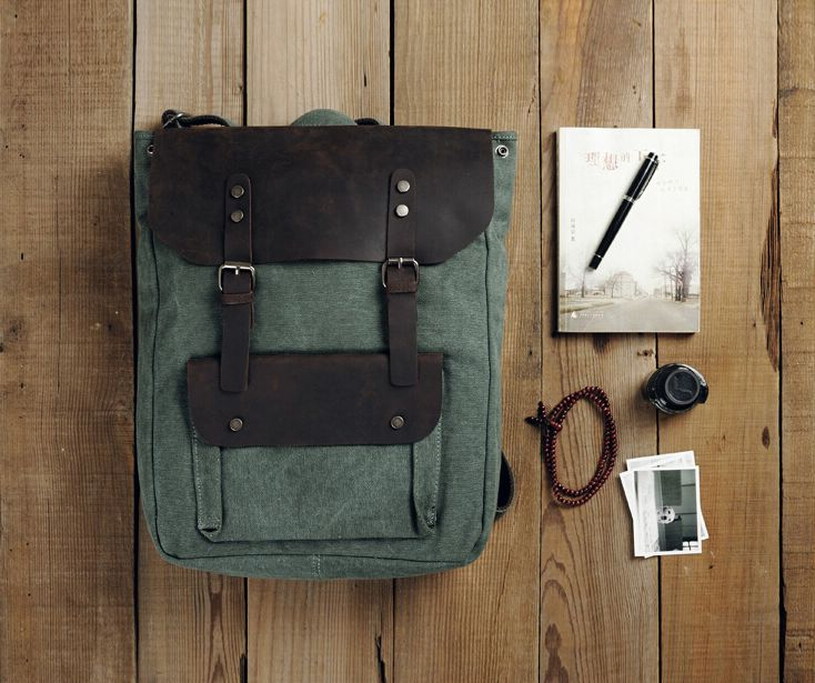 The Brumby, Leather and Canvas Vintage Style Backpack – Runaway Bags. Our green version of the Brumby Adventure Rucksack. Hard to choose, we like them all.