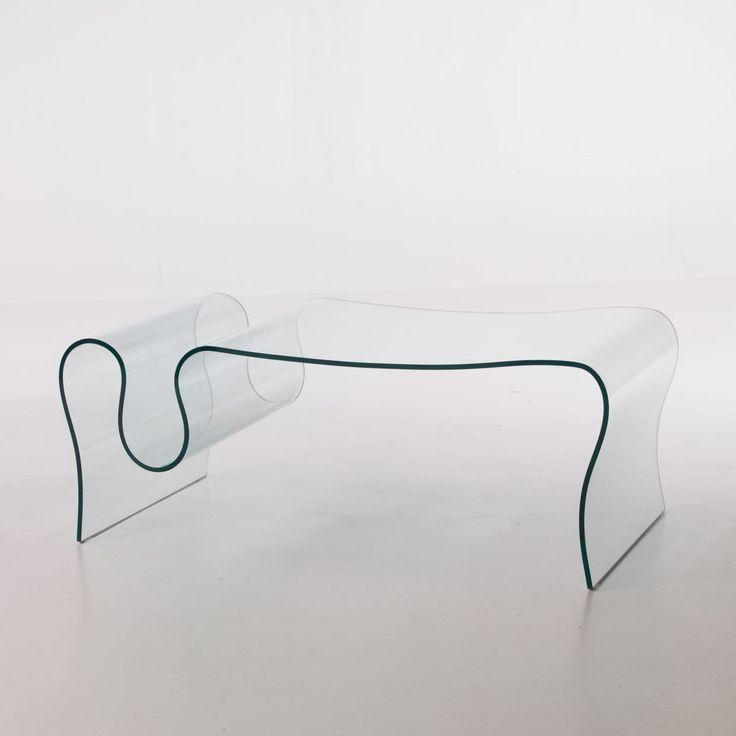 Tavolino in vetro curvato Ralf con portariviste 120 x 60 cm