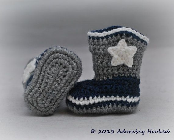 Baby Dallas Cowboy Boots, Crochet Cowboy Boots, Baby Booties, Dallas ...
