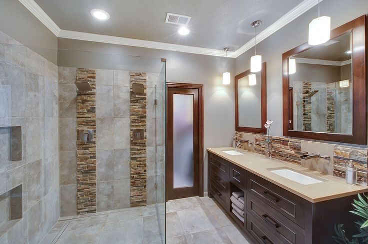 Contemporary master bathroom with daltile stacked stone for Bathroom design montreal