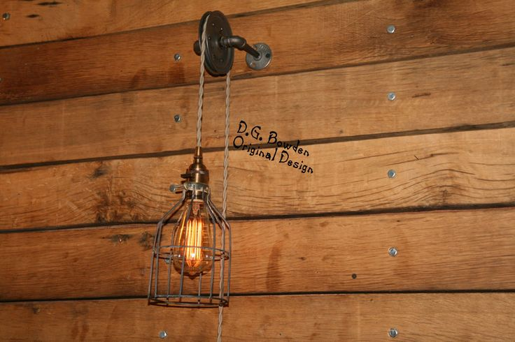Pulley Wall Mount Light - Industrial Wall Sconce - Pendant Light on Aged Pulley  #IndustrialRewind #IndustrialRustic