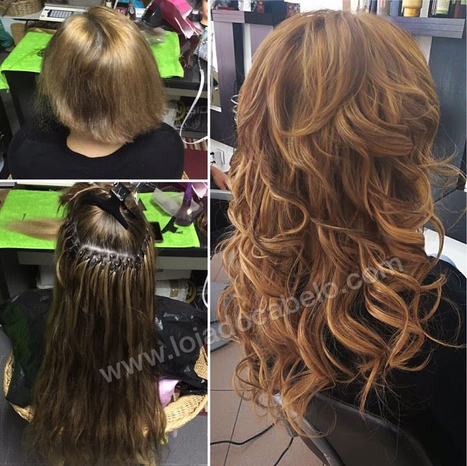 Esta cliente queria obter uma cor castanho-avelã sem recurso a químicas no seu cabelo. A opção foi a aplicação e mistura de extensões de cabelo com 2 tons diferentes para alcançarmos o resultado pretendido - 200 gramas de cabelo humano ondulado 6 e 27 - Aplicação: Nó Italiano
