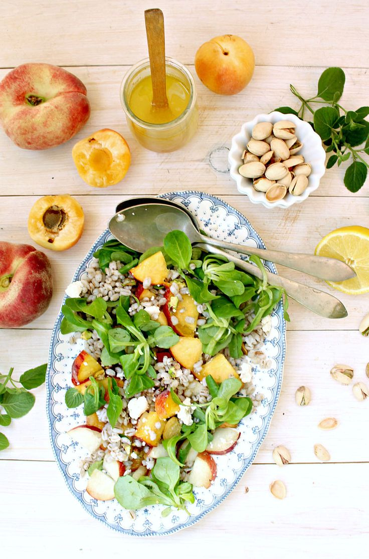 Stone Fruit Barley Salad with Sparkly Vinaigrette | Honey and Figs - Sweet, salty, tangy and delicious. Fresh peaches and apricots, feta and pistachios ... yum!