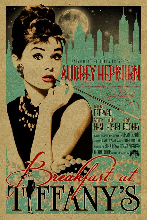 12x18 on 65# cover weight kraft paper  A tribute to the Breakfast at Tiffanys...a 1961 American romantic comedy film starring Audrey Hepburn and George Peppard, and featuring Patricia Neal, Buddy Ebsen, Martin Balsam, and Mickey Rooney. The film was directed by Blake Edwards and released by Paramount Pictures. It is loosely based on the novella of the same name by Truman Capote.  Hepburns portrayal of Holly Golightly as the naïve, eccentric café society girl is generally considered to be the…