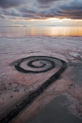 Spiral Jetty, The Great Salt Lake, Utah.Built by Robert Smithson in 1970, the Spiral Jetty is made of mud, salt crystals, basalt rocks, earth, and water. The   artist does not typically maintain them, instead letting nature and the elements take their course.