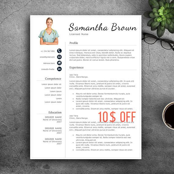 Professional Nurse Resume Template. For Pages & by VisionTemplates