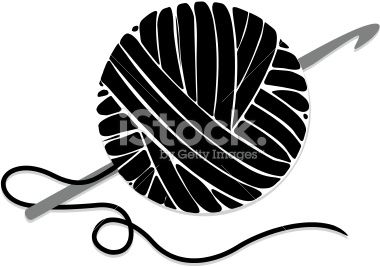 Stylized Ball of Yarn and Crochet Hook, Icon Royalty Free Stock Vector Art Illustration