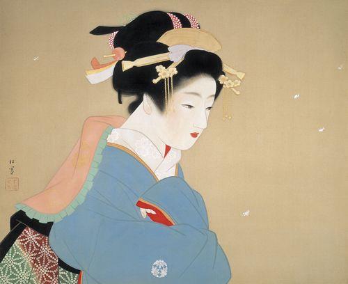 上村松園 Syouen Uemura 『庭の雪』(1948)山種美術館蔵