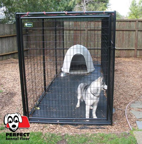 10 x 10 rolled floor. Drains well. secured with spikes; extends past kennel walls; very durable; apx 300