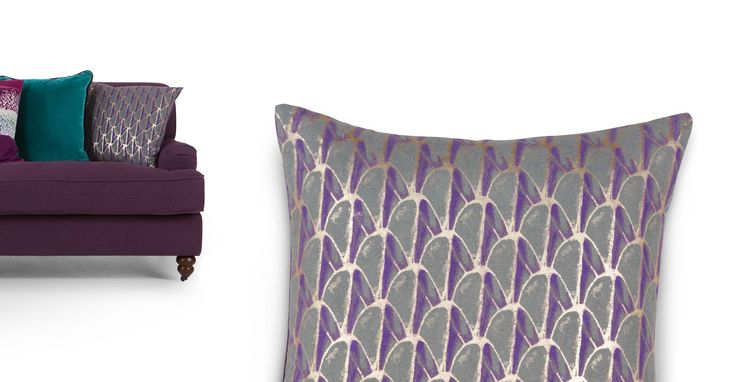 Novello, coussin imprimé 50 x 50 cm, violet et or