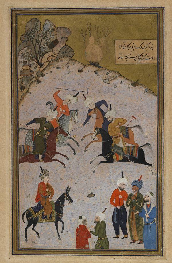 Folio from a Divan (collected poems) by Hafiz (d. 1390); recto: a polo game; verso: text, poem on qualities of the beloved and transience of life  TYPE Detached Manuscript folio MAKER(S) Calligrapher: Sultan Muhammad Nur Artist: Shaykhzade HISTORICAL PERIOD(S) Safavid period, 1523-24 (930 A.H.) MEDIUM Opaque watercolor, ink and gold on paper DIMENSION(S) H x W (overall): 29.6 x 18.6 cm (11 5/8 x 7 5/16 in) GEOGRAPHY Afghanistan, Herat