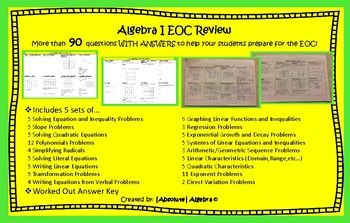 Includes 5 sets of    5 Solving Equation and Inequality Problems6 Graphing Linear Functions   5 Slope Problems3 Regression Problems   5 Solving Quadratic Equations5 Exponential Growth and Decay   12 Polynomials Problems5 Systems of Linear Equations   4 Simplifying Radicals3 Arithmetic/Geometric Sequence   5 Solving Literal Equations5 Linear Characteristics   5 Writing Linear Equations5 Quadratic Characteristics   5 Transformation Problems11 Exponent Problems  4 Writing Equations from Verbal…