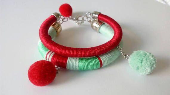 Red Pom Pom Tribal Bracelets African jewelry Green Mint