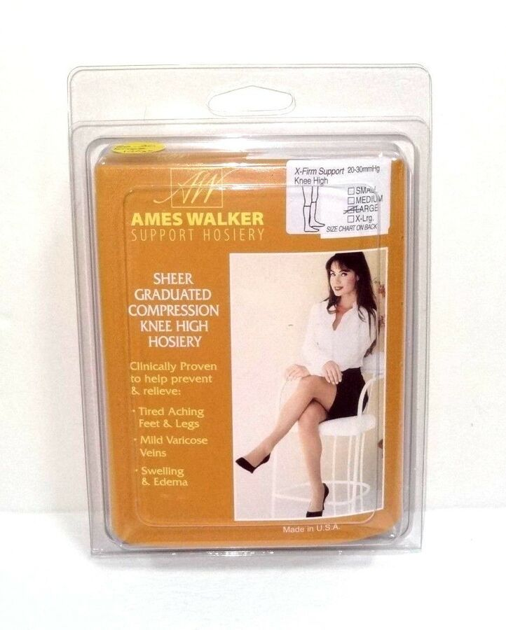 39179d8a1 Ames Walker Sheer Graduated Compression Knee High Hosiery Style 18 Large  Nude Graduated Compression Knee
