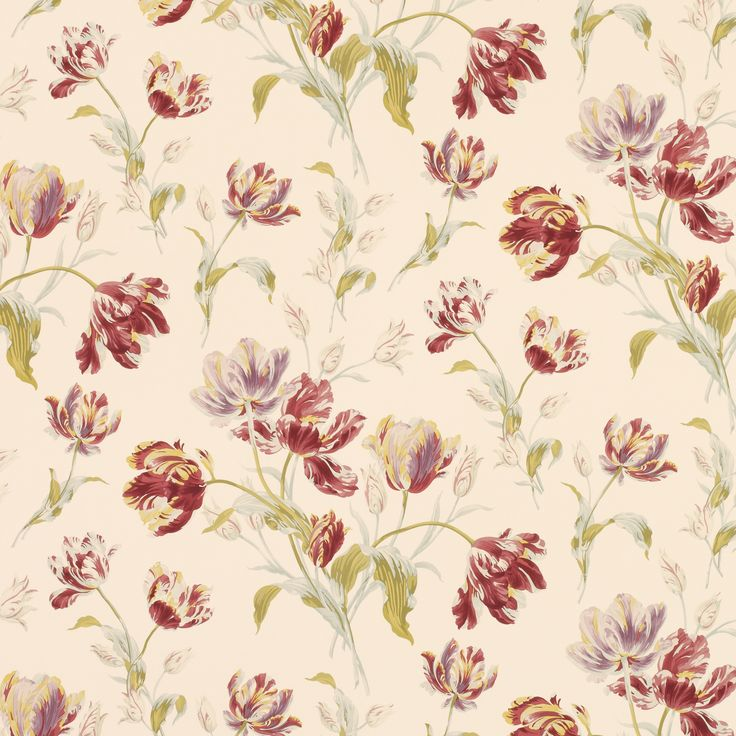 FABRIC PRINTS | Gosford Meadow Cranberry Wallpaper from Laura Ashley |