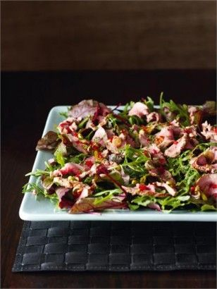 Anglo-Asian lamb salad - I need to be in the mood for this, as the dressing is a little sharp. But it's fairly straightforward (although I don't yet have a good method for mixing in the redcurrant jelly, I just get ugly blobs) and the flavours make a difference from the usual lamb ones.